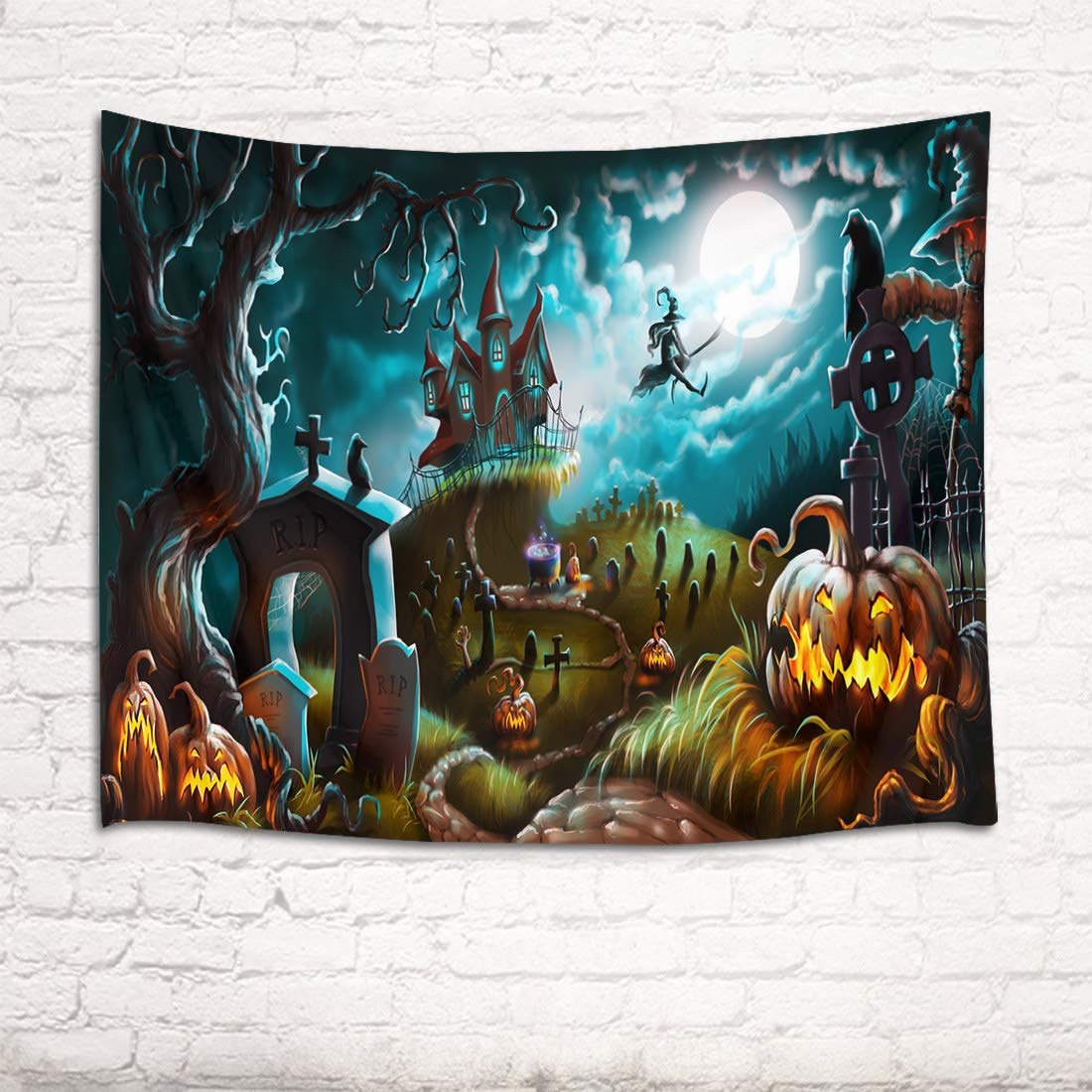 HVEST Halloween Tapestry Night Tapestry Wall Hangings Skulls and Pumpkin by The Gate Wall Blanket for Bedroom Living Room Dorm Decor,60 W X 40 H INCH