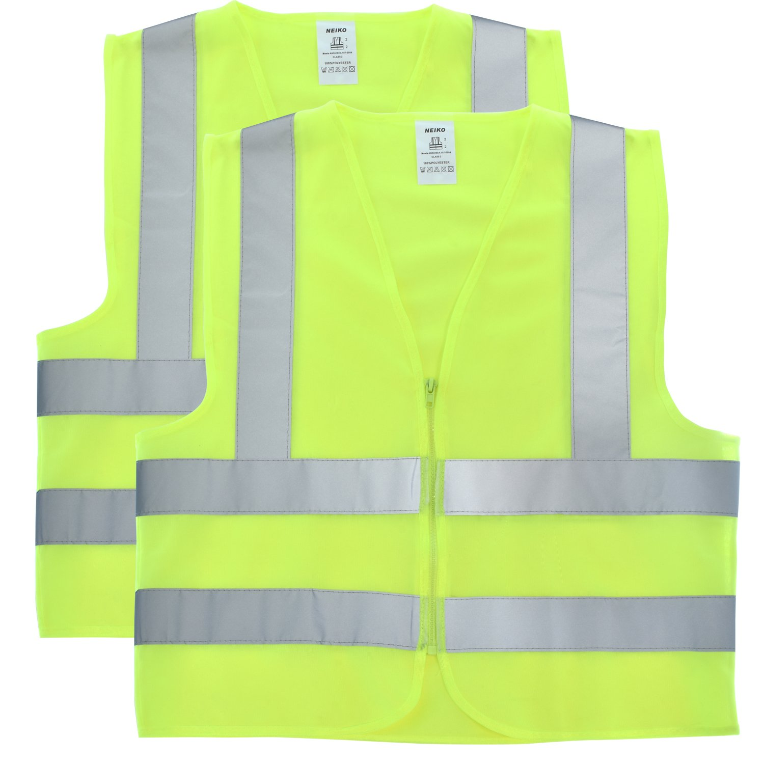 Neiko 53949A Safety Vest Front Zipper, High Visibility Neon Yellow | ANSI/SEA Standard - Size XXXL | 2 Pack