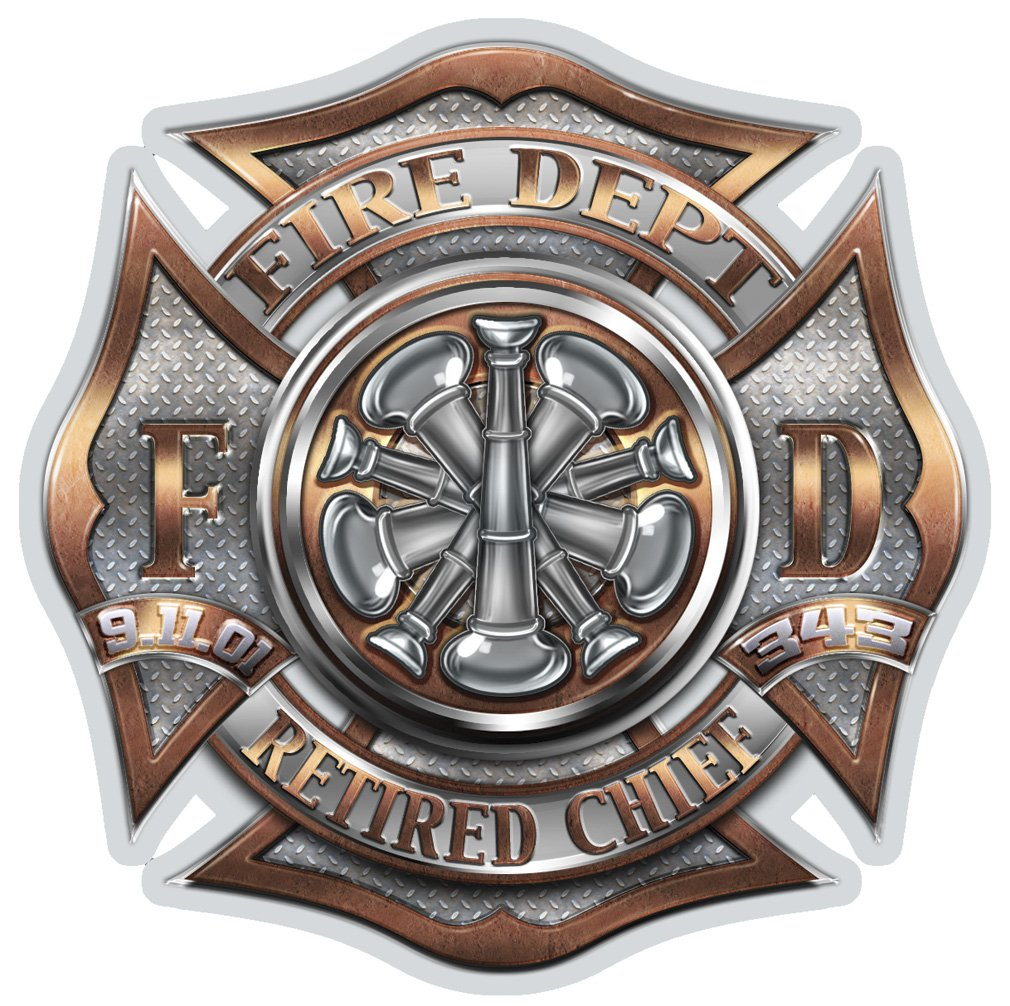 Collectible Firefighter Decals (4in,4pack), Share your Appreciation and Support with our RETIRED Chief Stickers for your Home, Car, Cases and more, Souvenir Gifts for Firefighter