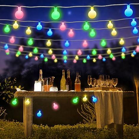 ShinePick Guirnalda Luces Exterior,9.5M 50 LED Luces de Colores Cadena de Luces, Bombillas Decoración de Navidad, Patio, Boda, Dormitorio (Enchufe ...