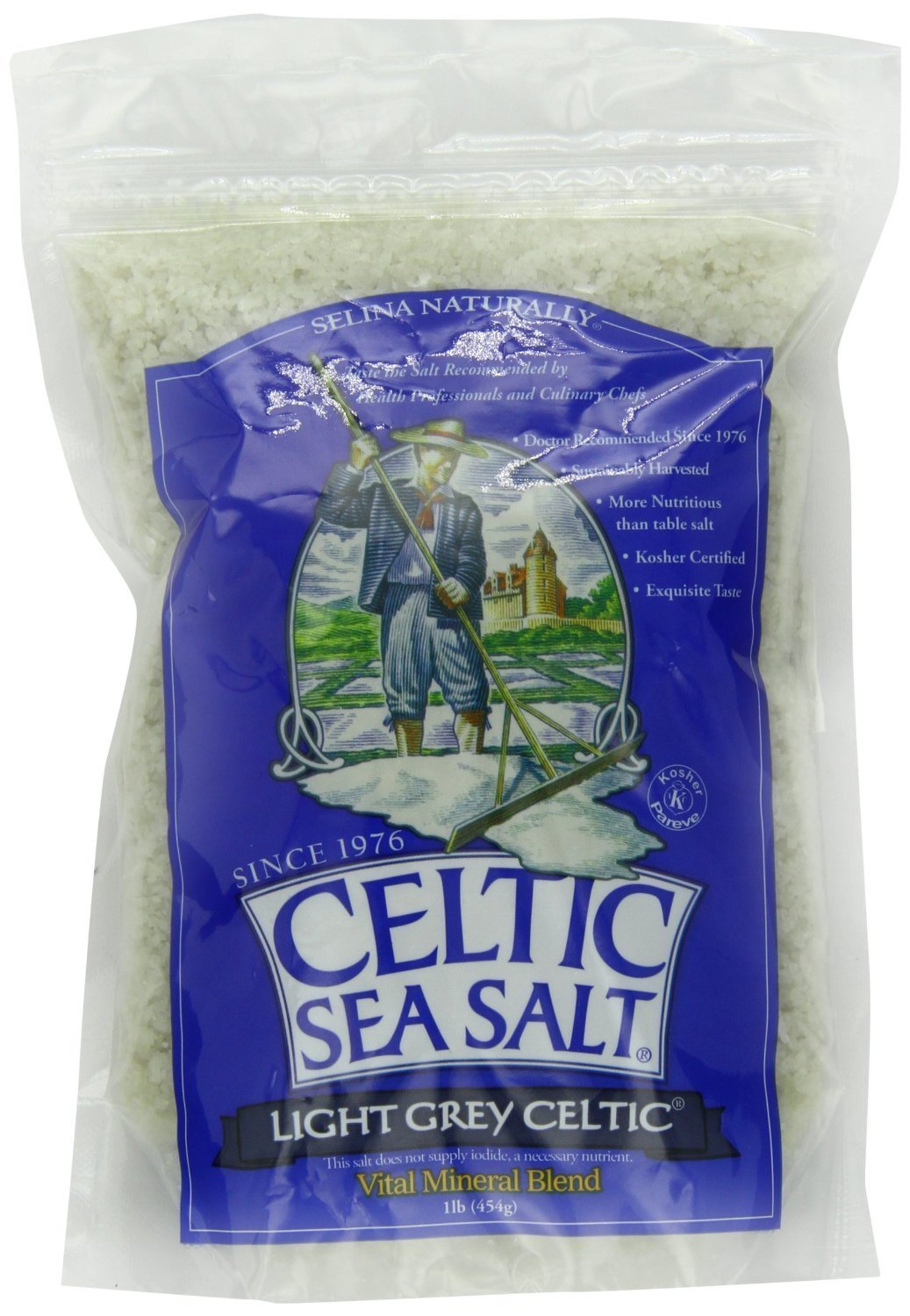 Light Grey Celtic coarse sea salt, 1 lb. bag - Pack of 2