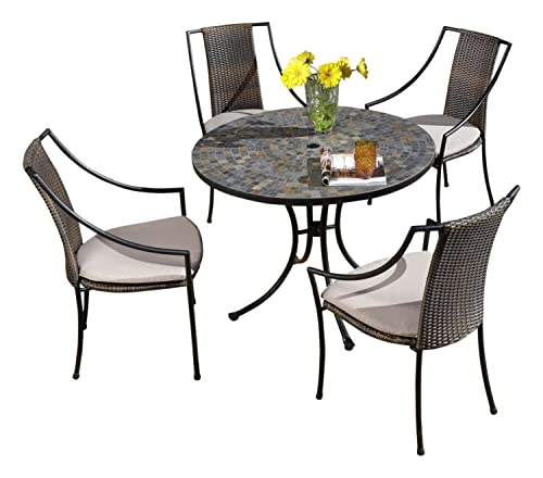 Home Styles Stone Harbor Black Five-piece Outdoor Dining Set with Table, Four Chairs, Stone Table Top, Umbrella Hole, Synthetic Weave Seats, and Four Taupe Cushions