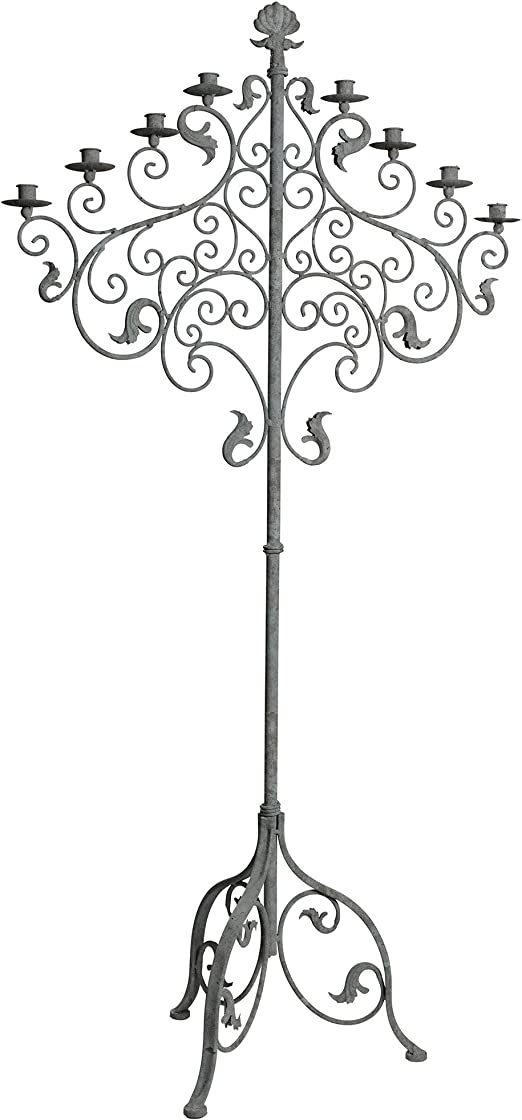 Wrought Iron Floor Candelabra Stand Candle Holder Large 5 Feet Tall Tuscan