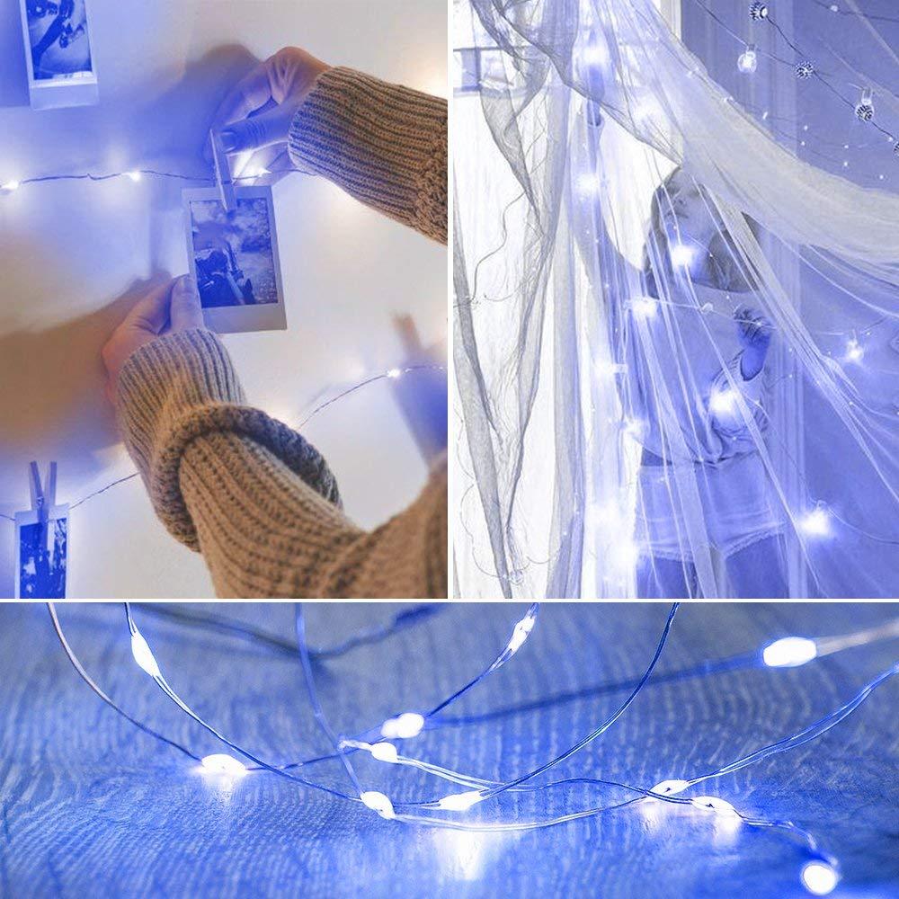 Luce natalizia 6 confezioni di 20 LED luce di luna 6.6ft 2M verde luci della stringa Interni Esterni festa di nozze di Natale luci della stringa luci dellalbero luce stellata di memoria Batteria F