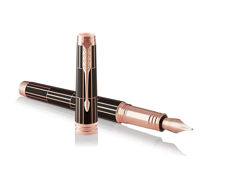 negro lujoso con adorno cromado, plum/ín fino y recambio de tinta negra Pluma estilogr/áfica Parker Premier 1931401