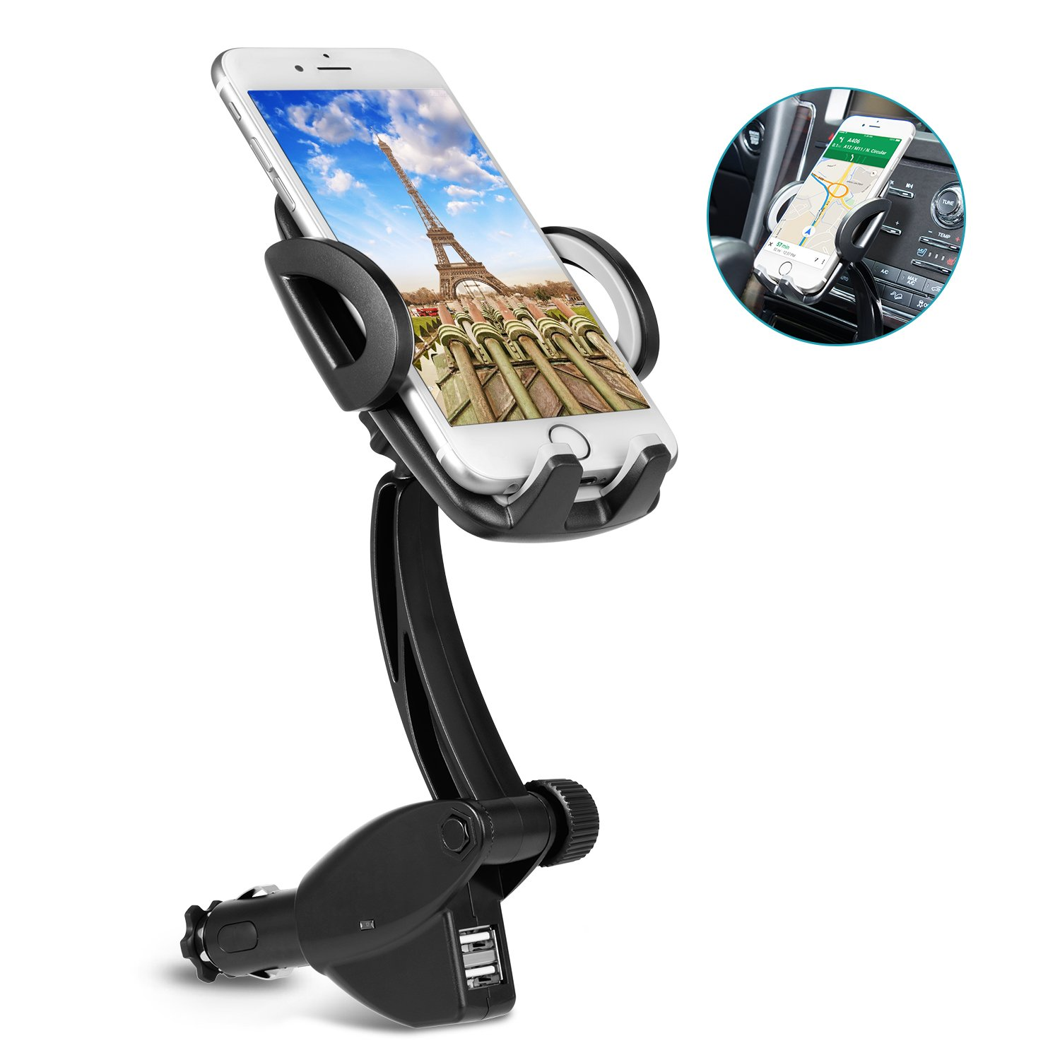 Car-accessory Cigarette Lighter Phone Holder Car Mount Charger with Dual USB Charging Ports for iPhone X 8 8 Plus 7 7 Plus 6s 5s, Samsung Galaxy S9 S8 S8 Plus S7 and More Smartphones
