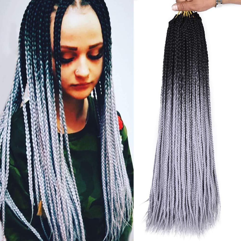 Amazon Com Alirobam 24inch 22strands 6packs Black Grey Hand Made Box Braids Crochet Braiding Hair Extensions 100g Ombre Kanekalon Synthetic 3s Crochet Braids For Black Women 3s Box Braids Black Grey Beauty