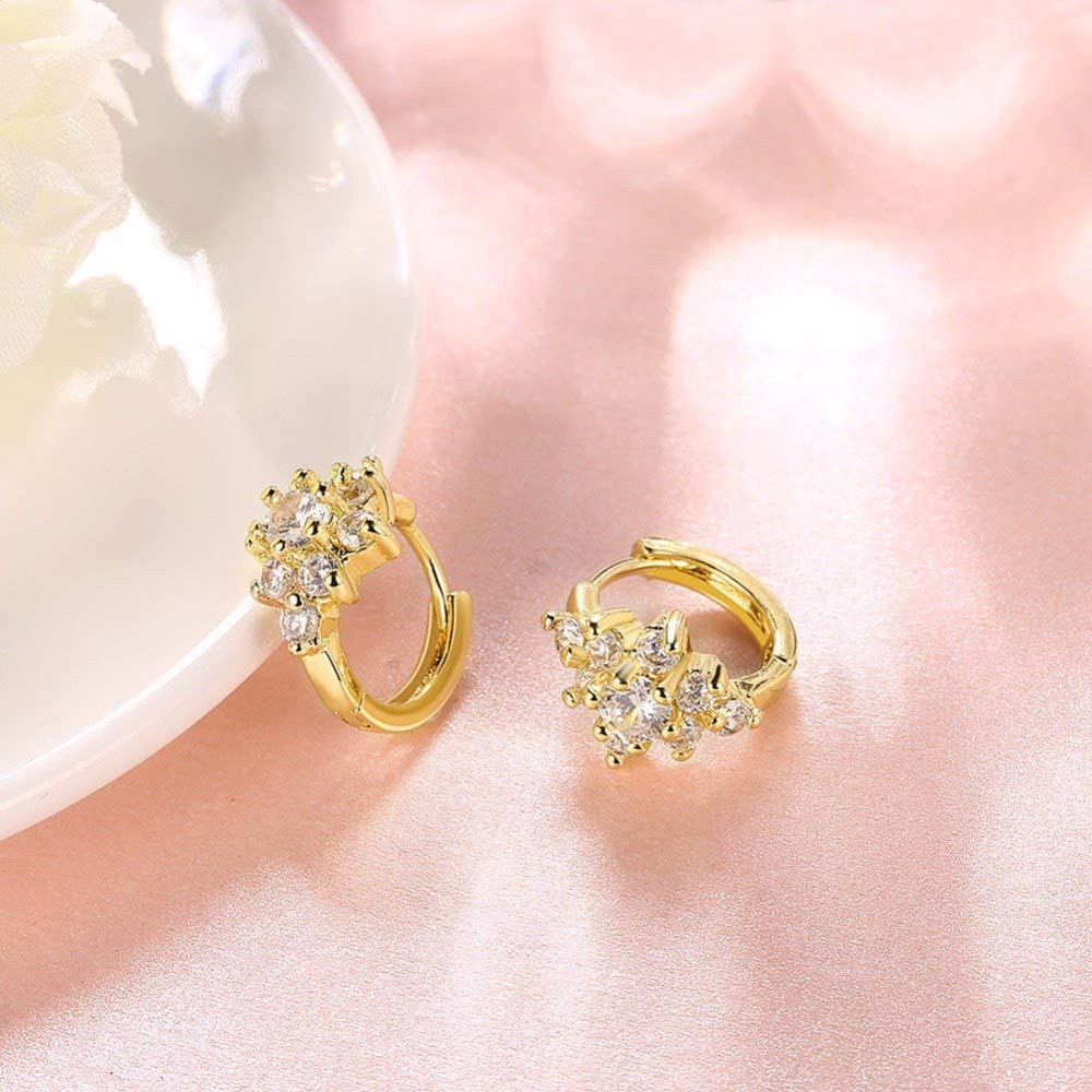 TTO Hoop Earrings Gold Color Flower Huggies Small Hoop Earring Micro Pave Cubic Zirconia Anti-Allergic Jewelry for Womens Children Girls Baby Kids 1 PCs