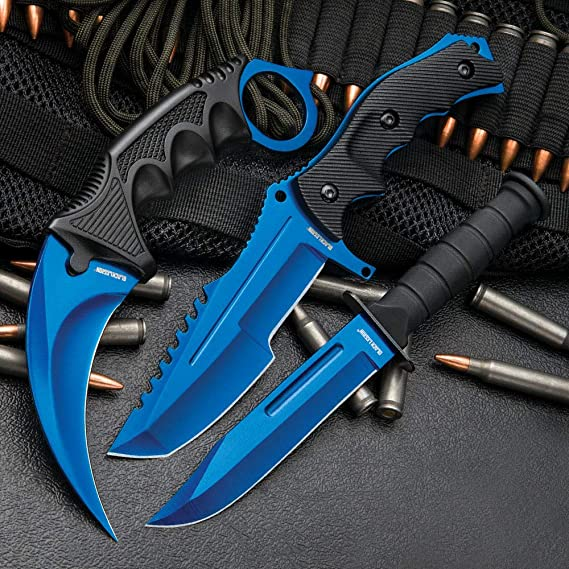 Black Legion Atomic Blue Triple Set - Karambit/Huntsman/Military Knives