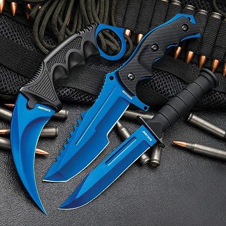 Amazon.com: Negro Legión Atomic azul Juego de cuchillos ...