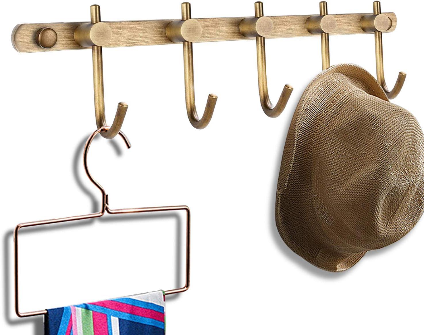 5 Hooks Vintage Antique Coat Hat Clothes Robe Wall Mounted Holder Door Hook Rack