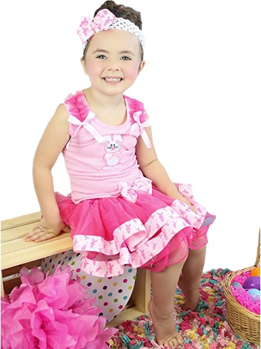 My 1ST Easter Bunny Rabbit White Top Pink Dot Satin Trim Skirt Girl Outfit NB-8Y