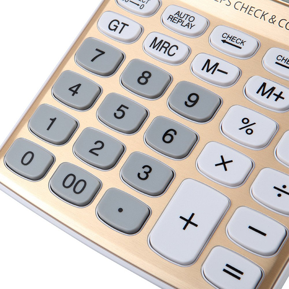 AYPBAIM Desktop Calculator with 12-Digit Large Display,Solar Battery LCD Display Office Calculator (Gold) 43190-725510