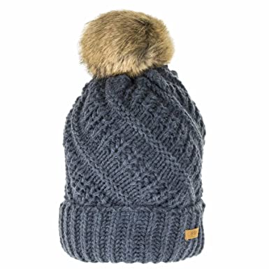84175d45412 Barts Liberty Beanie Hat with Faux Fur Bobble - Dark Grey  Amazon.co.uk   Clothing