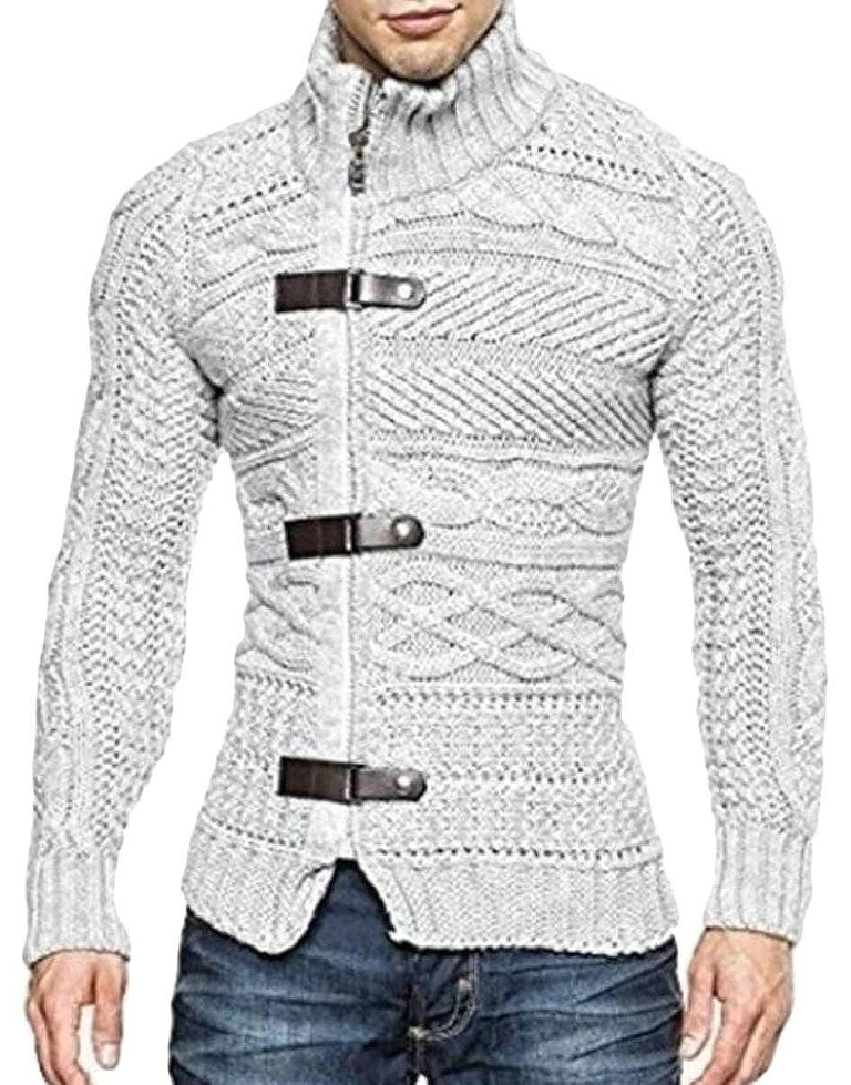 CBTLVSN Mens Winter Slim Full Zipper Knitted Cardigan Sweaters