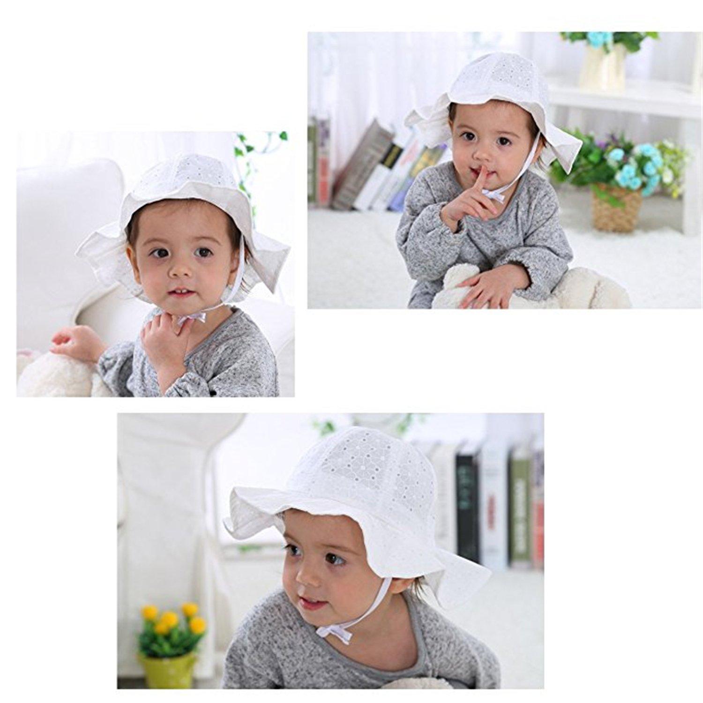 YHBAO Baby Sun Hats for Girls UV Protection Cotton Bucket Hat Wide Brim Baby Cap