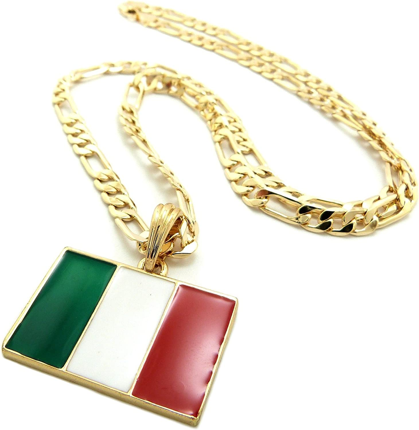 New ITALY FLAG Pendant 5mm//24 Figaro Chain Hip Hop Necklace XSP363G