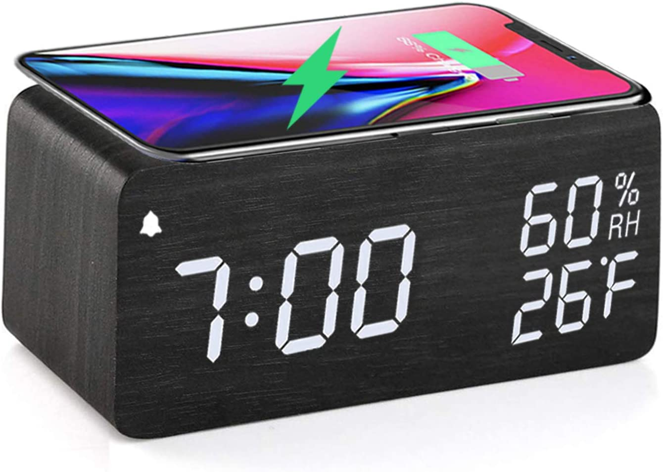 Wireless alram clock with LED display,Sound Control with 12/24H Snooze for bedroom office travel compitable with all android phones.
