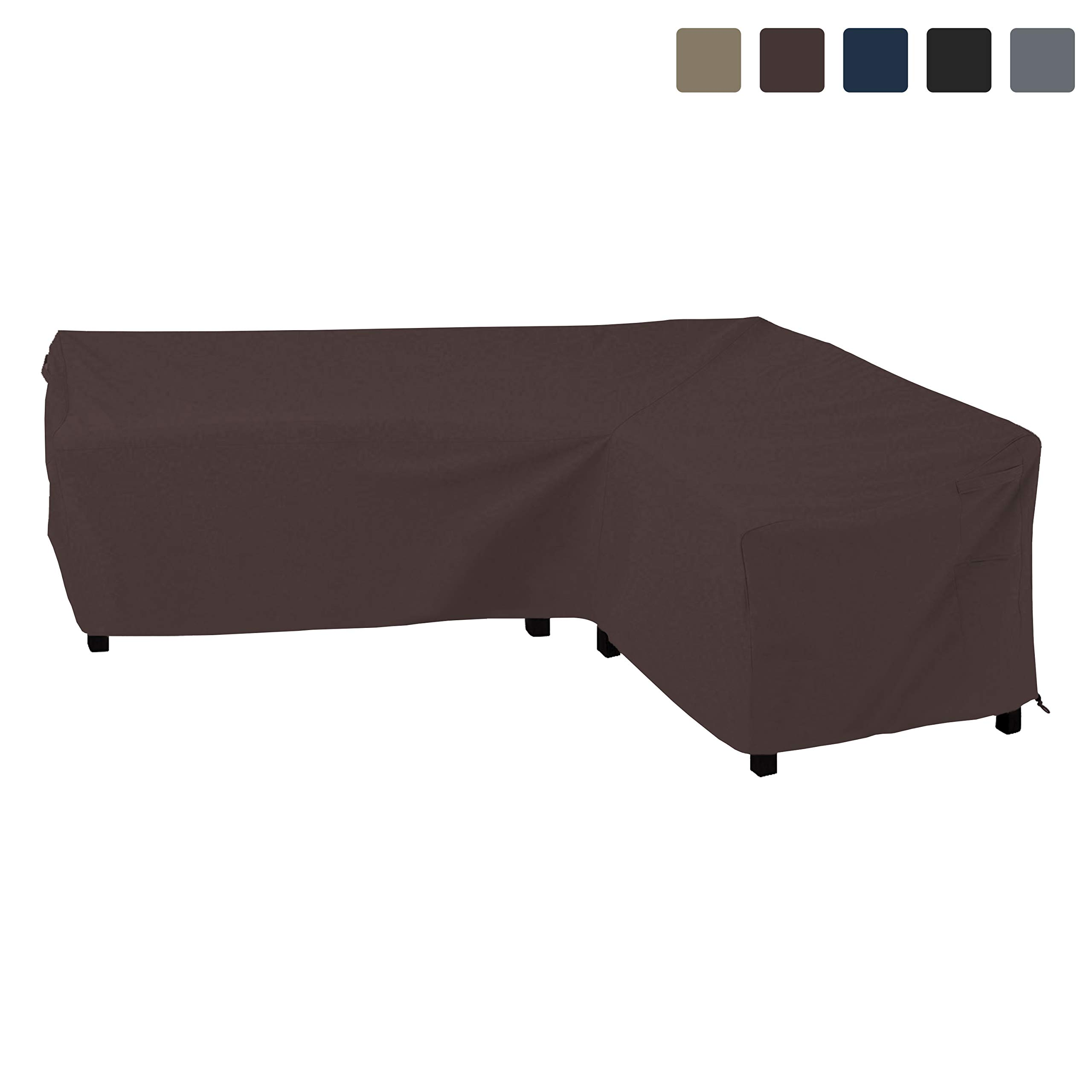 COVERS & ALL Patio Sectional Sofa Cover 12 Oz Waterproof - 100% UV & Weather Resistant PVC Coated 90'' x 120'' x 35''D x 33'' H - L Shape Sofa Cover for Indoor/Outdoor (Right Facing Sofa, Coffee)