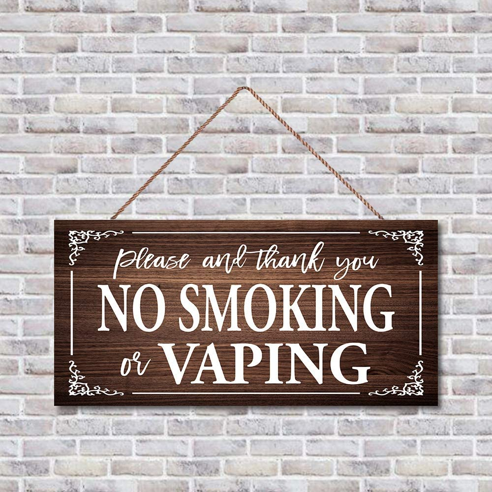 Wood Wall Hanging Plaque Sign, Home Accessory, Gift Sign, No Smoking or Vaping Sign,Wall Decorations, Wooden Garden Sign for Home/Kitchen Decor, 16