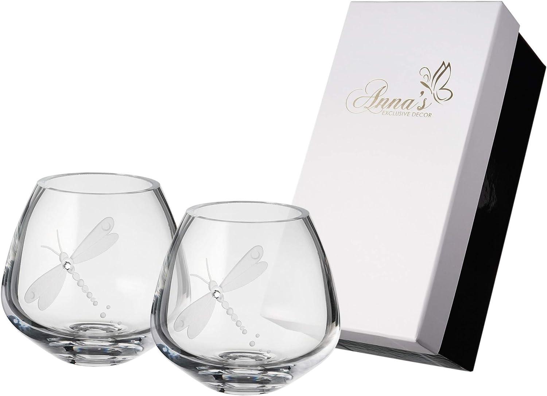 Juego de 2 portavelas de libélula, cristal de Swarovski y libélula grabada, juego de candeleros de cristal soplado boca para decoración del hogar – Caja de regalo de lujo – 4 pulgadas (10 cm)