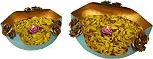 Christmas Decorations Decorative Brass Urli Bowls for Home & Office Decoration Brass Plain Urli Utensil Best for Home & Office Decoration & Gift Purpose, Home Décor Blue