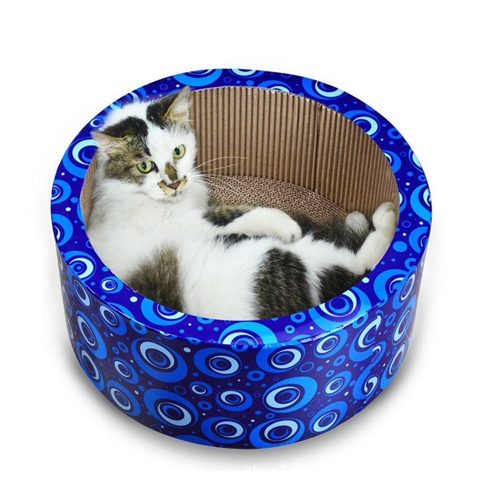Forma de Barril # Azul, 38x38x15cm JEELINBORE Rascadores para Gatos C/áscara Camas Alfombras Rascador con Hierba gatera Juguetes interactivos