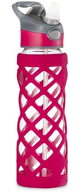 SWIG SAVVY Botella de Agua de Vidrio - Funda Protectora de Silicona Con 3 Tapas Intercambiables