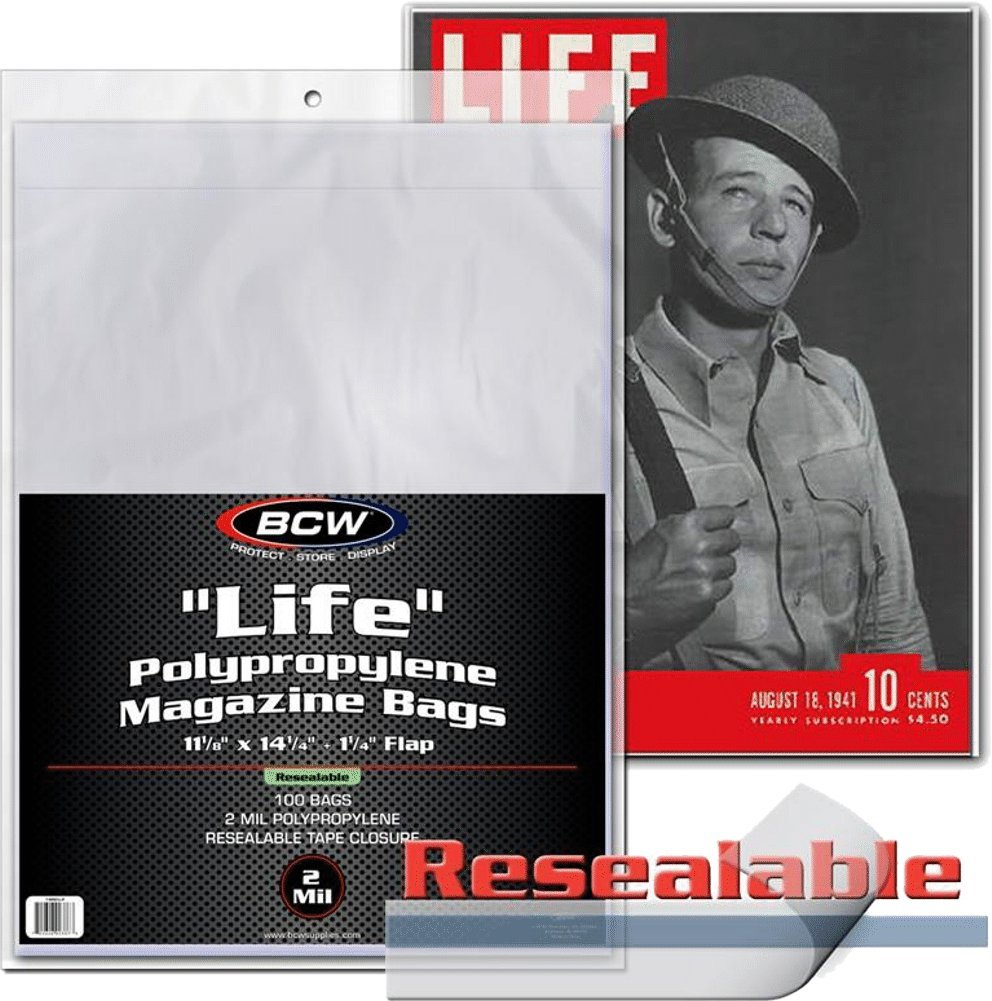 BCW-MAG-L-R - Resealable Oversize ''Life'' Magazine Sleeves - 11.25'' x 14.25'' with flap - Clear - (1000 Sleeves)