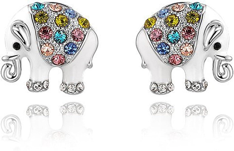 Daesar Joyería Pendientes Mujer de Plata, Aretes para Mujer Chapado en Oro Pendientes del Perno Prisionero Elefante con Piedras Preciosas, 1 Par
