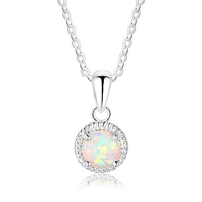 Fashion 925 Bijoux En Argent Opale de feu Charme Collier Pendentif Chaîne Nouveau