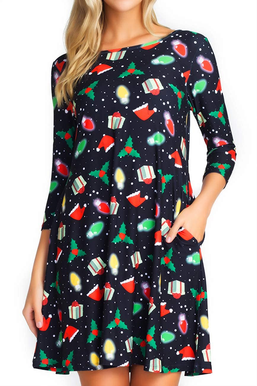 69e715472c77 ICONOFLASH Women s Christmas Dresses with Pockets 3 4 Sleeves Flared Swing  Holiday Party Dress Up