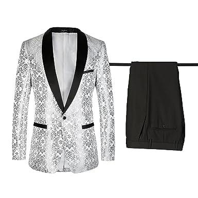 diecaprle Wedding Suit Slim Fit One Button Business Suit Silver