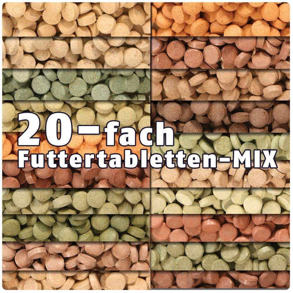 AQUALITY PREMIUM Futter-Tabletten MIX '20 Sorten' 1.000 ml (Eine täglich ausgewogene Mischung von 20 verschiedenen Futtertablettensorten für Ihre Aquarium-Fische. Leckeres Fischfutter in Premium-Qualität) AQUALITY AQUARISTIK