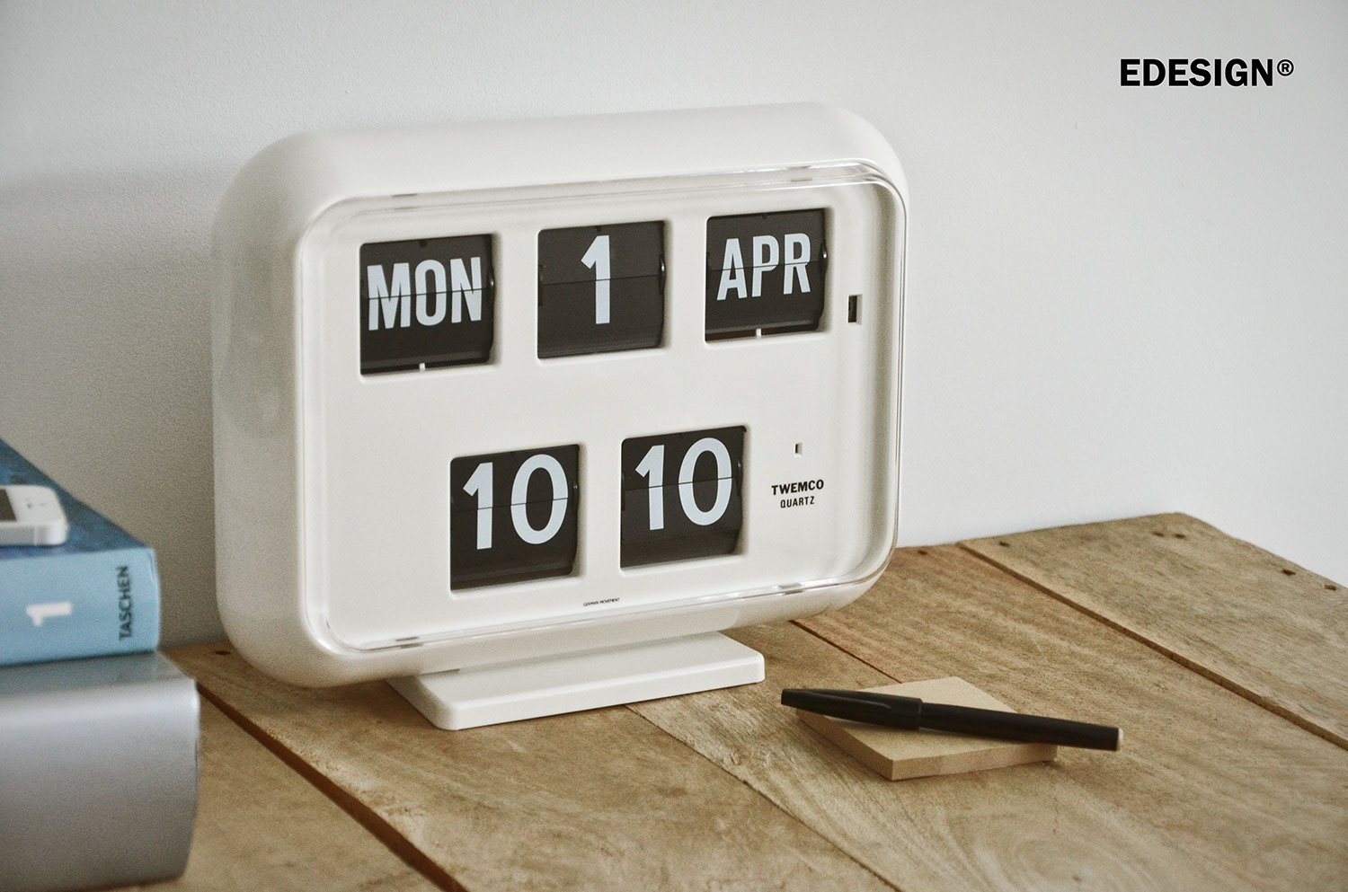 Twemco qd35 large perpetual calendar flipclock in white english twemco qd35 large perpetual calendar flipclock in white english date 24 hrs time original interior design icon since 1956 on wall or standing amipublicfo Choice Image