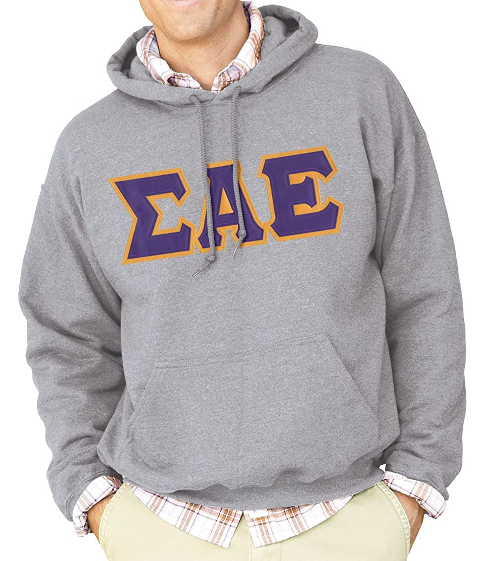 Sigma Alpha Epsilon Black Hoodie with Purple Sewn On Letters