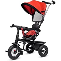 R for Rabbit Tiny Toes Sportz Smart Plug and Play Stylish Baby Tricycle Trike Cycle with Canopy for Kids of 1.5 to 5 Years with Basket,Parentals Control & Rubber Wheels & Paddle Lock.(Red)
