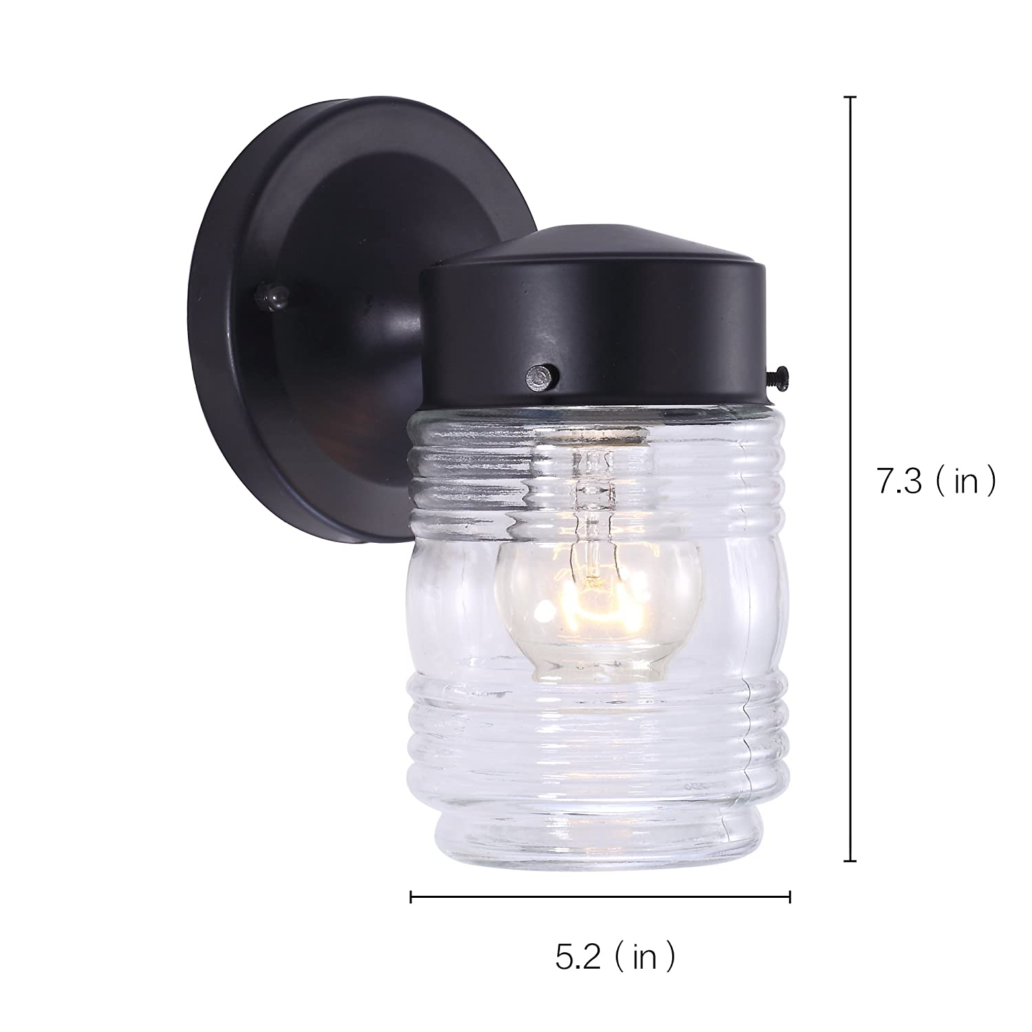 7pandas 00533511 1 light jelly jar wall light sconce fixutre 7pandas 00533511 1 light jelly jar wall light sconce fixutre indoor wall mount light with white glass shade black 5 inch amazon arubaitofo Images