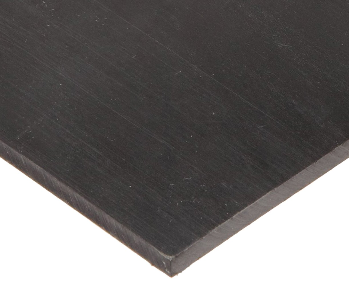 """UHMW (Ultra High Molecular Weight Polyethylene) Sheet, Opaque Black, Standard Tolerance, 1/8"""" Thickness, 24"""" Width, 48"""" Length"""