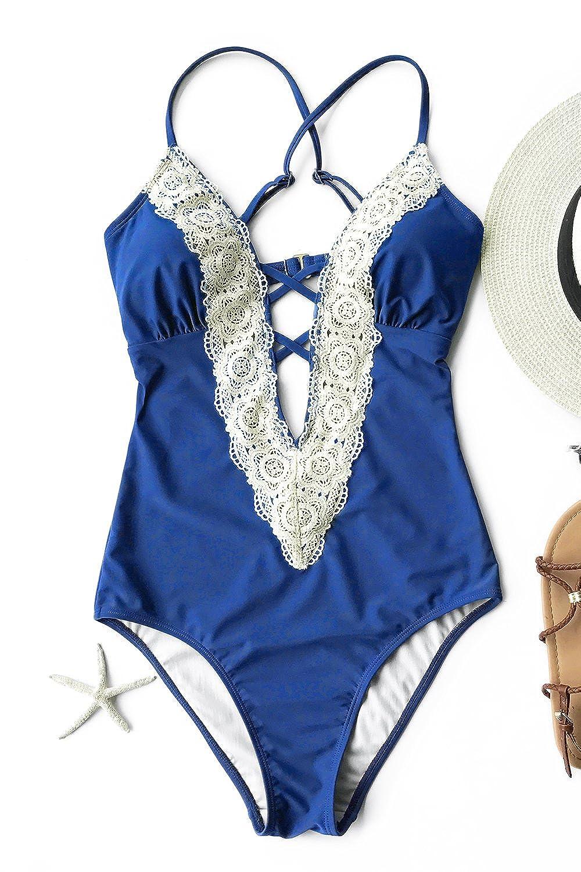 f4d7a66383ede Amazon.com: CUPSHE Women's Ladies Vintage Lace Bikini Sets Beach ...
