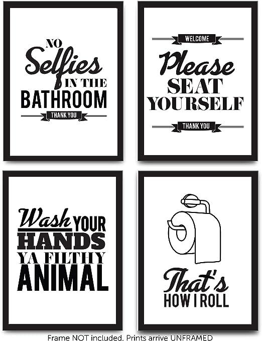 No Selfies In Bathroom Funny Black Typography Black Poster Print Home Wall Art