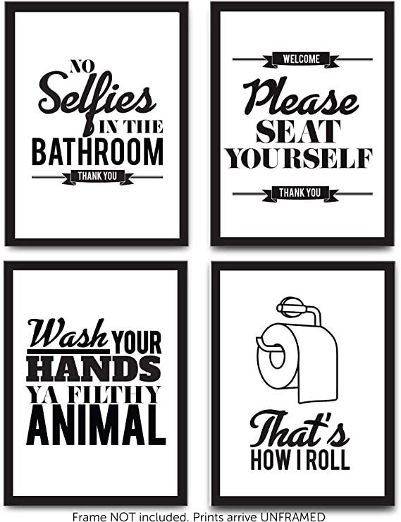 Funny Bathroom Decor Typography Prints Unframed Wall Art Pictures Great Gift Set Of 4 Quotes Signs Rules 8x10 Kitchen Dining