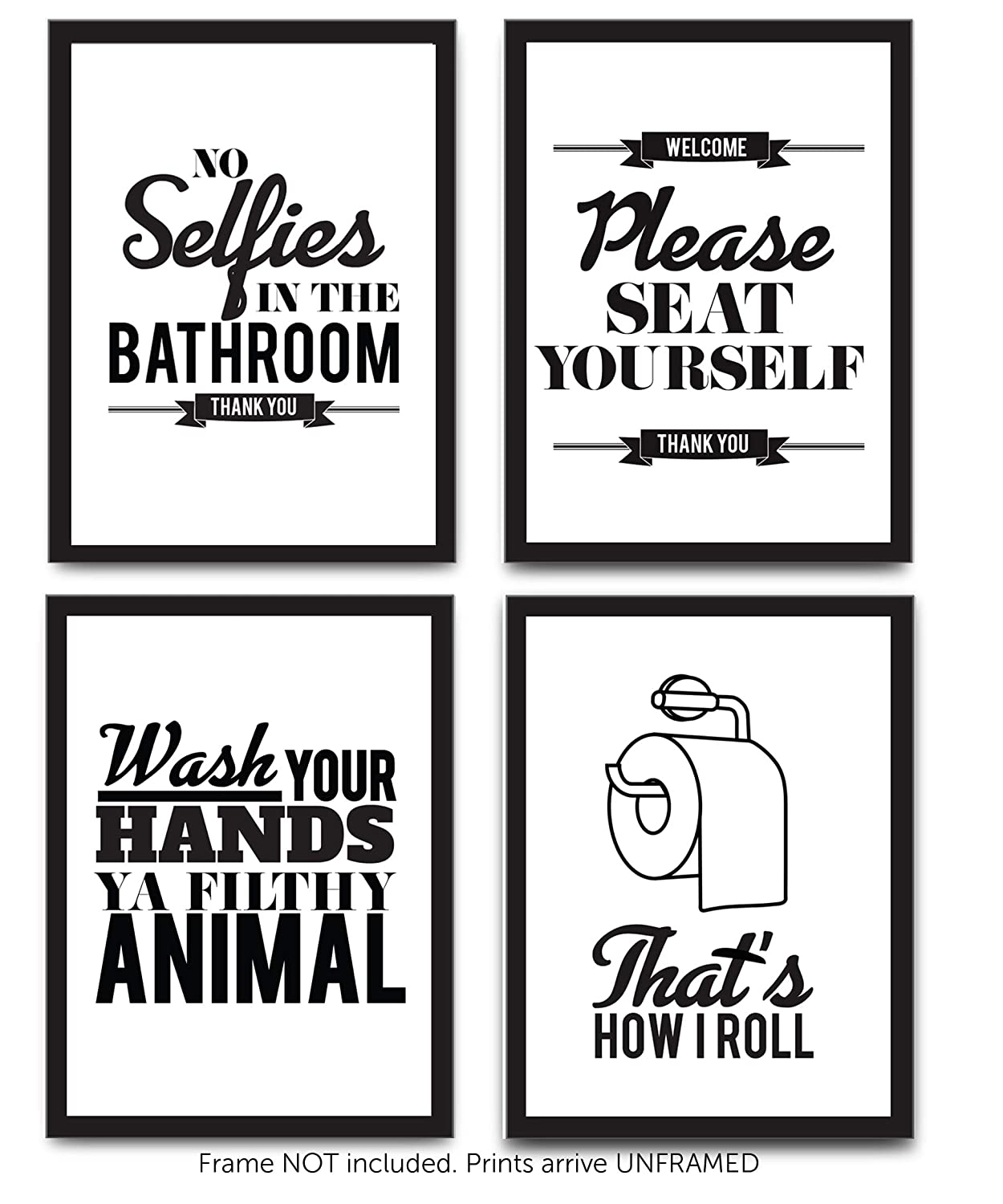 Set of 4 funny bathroom quotes rules best modern toilet decor words letters premium card stock sayings posters black white prints 8 x 10