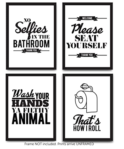 Typography Bathroom Wall Art U0026 Pictures | Set Of 4 Funny Bathroom Quotes U0026  Rules |