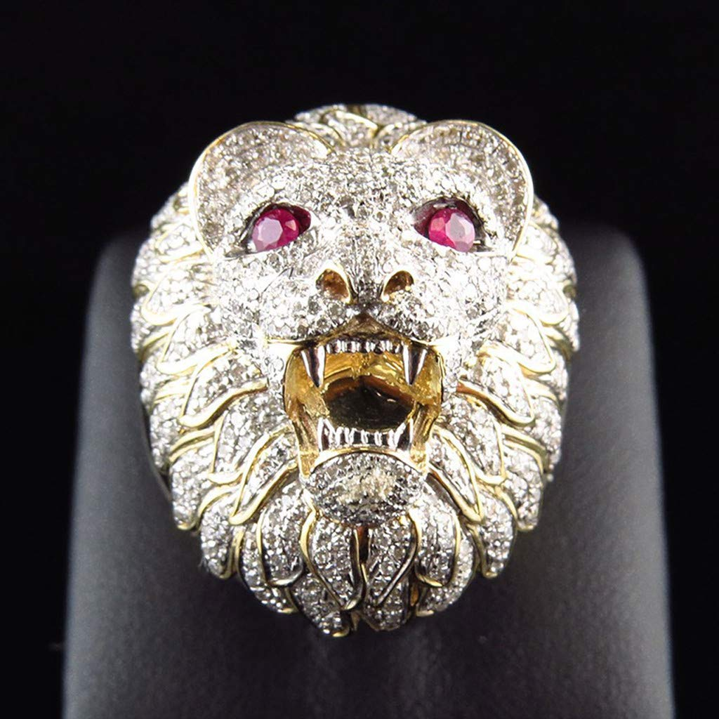 Gbell Men Fashion Punk Ring - Lion Head Gold Filled Natural Ruby Gemstone Diamond Ring for Men Boys Jewelry Gifts (8) by Gbell (Image #3)