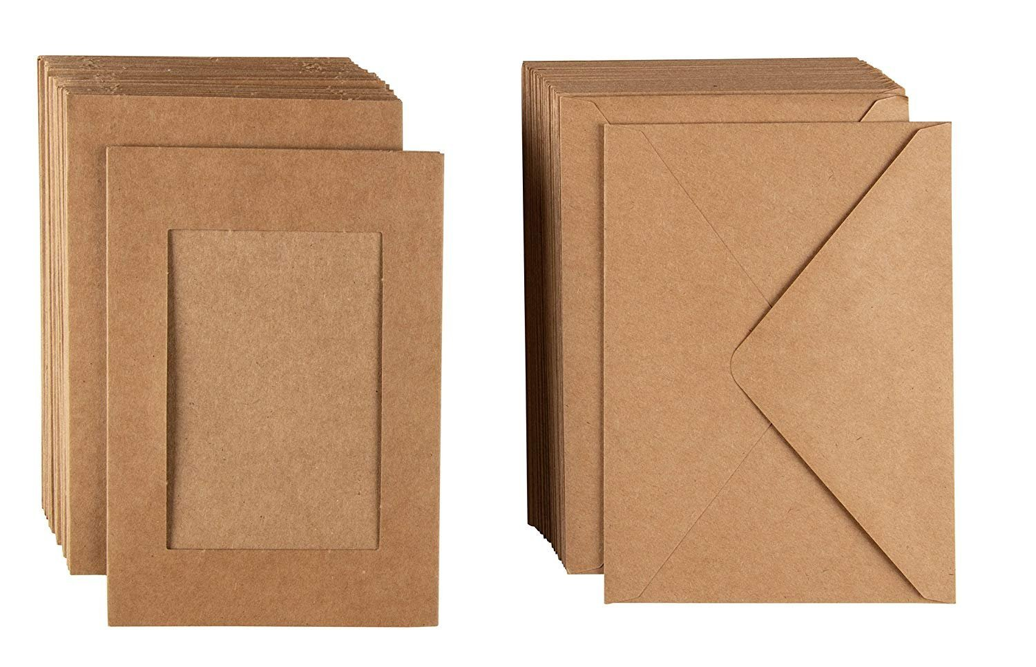 36-Pack Kraft Photo Insert Note Cards - Includes Paper Picture Frames and Envelopes - Kraft Paper Photo Mats, Photo Insert Greeting Cards, Holds 5 x 7 Inches Inserts