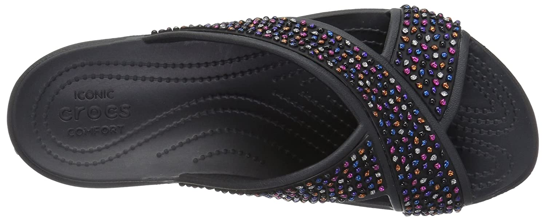 Crocs Damen Flipflops, Sloane Embellished Xstrap Sandalen Flipflops, Damen Weiß schwarz/Multi 6b4635