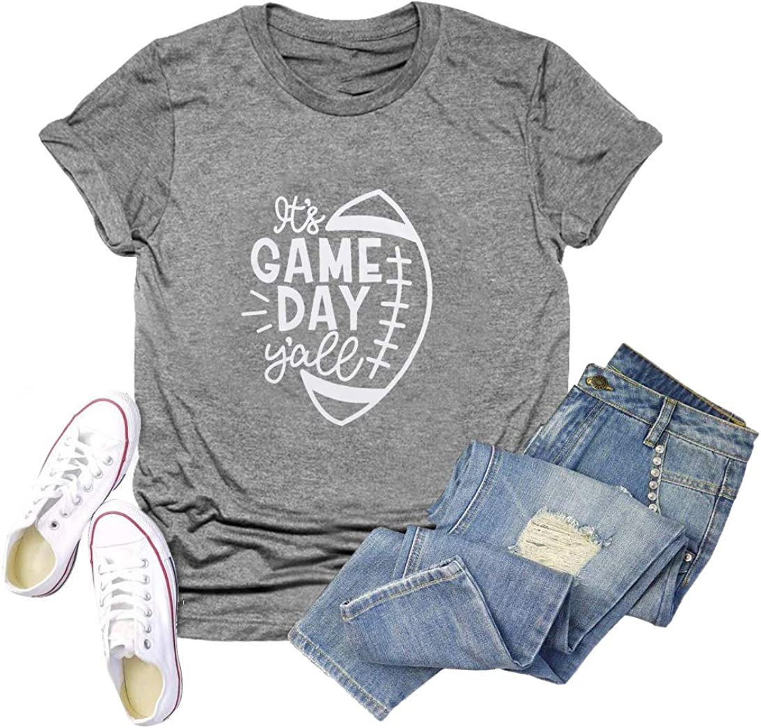 Womens Football Season T-Shirt Short Sleeve Funny Letters Print Casual Graphic Tees Tops