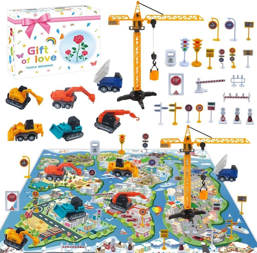 Vehiculos Construccion Juguete Niños con Tapete Grua Excavadora Hormigonera Camión Carretilla Elevadora Camión Juguete Vehículos de Construcción Camión Juguete Navidad Cumpleaño Regalo para Niños