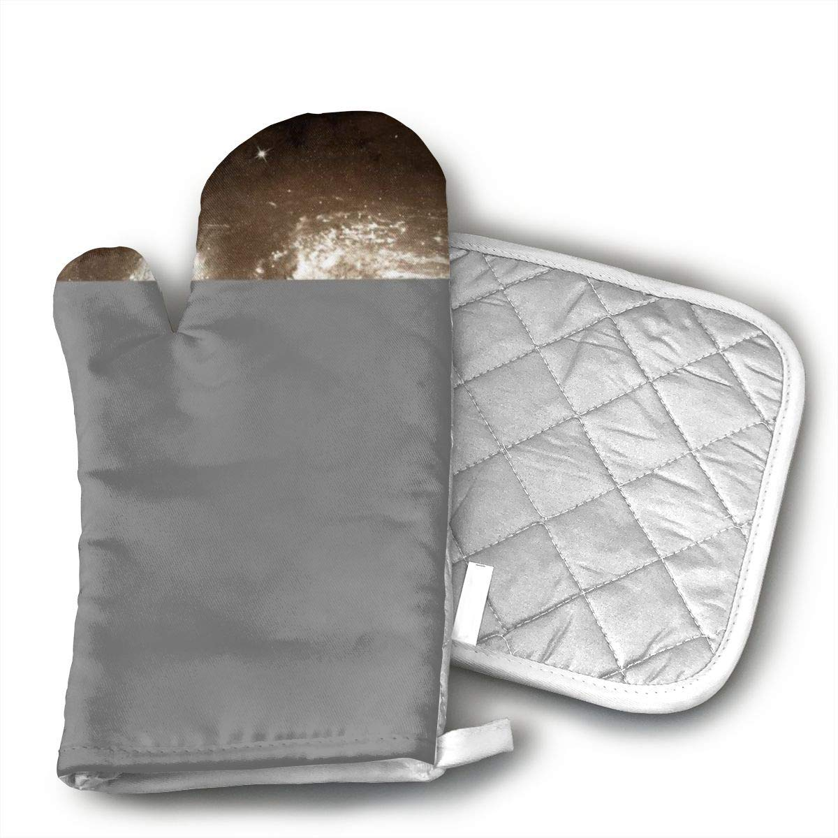 JFNNRUOP Sloth Space Astronaut Oven Mitts,with Potholders Oven Gloves,Insulated Quilted Cotton Potholders